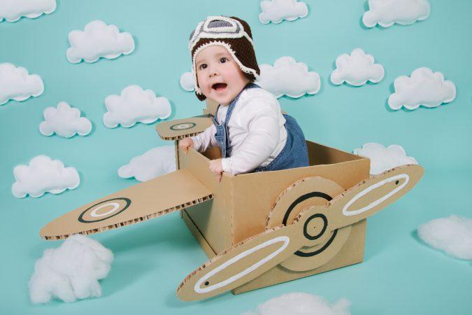 Set Infantil 16 - Fondo y piso de papel Baby Blue